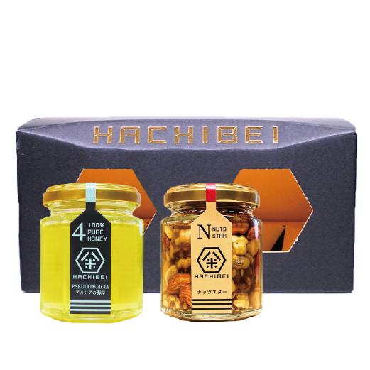 HACHIBEI(はちべい)【No.4・ナッツスター】八米 オススメセット(120g×2)|国産はちみつ はちべいの蜂蜜 八米